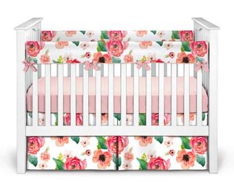 crib bedding floral crib bedding baby crib bedding bumperless crib bedding girl