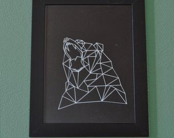 White geometric bear design on black