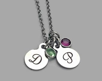 Couple Necklace, Couple Initial Necklace, Couple Birthstone Necklace, Best Friend Necklace, Friend Charm, Mother Necklace, Grandma Necklace