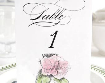 Hibiscus Hawaiian Themed Wedding, Beach Table Numbers (1-10)