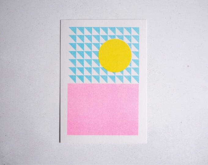 Summer sunshine - Mini pattern print - Risograph print A6