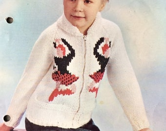 "vintage knitting pattern 1950's P&B 9005 Child's Jacket Highland Games 26-30"" chunky"