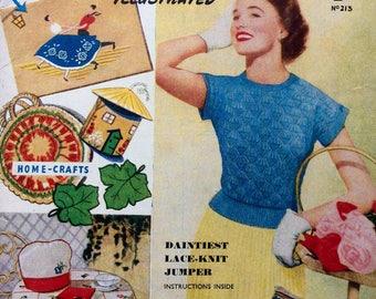Vintage magazine 1950's Needlework Illustrated 213 knitting sewing crochet cross stitch patterns