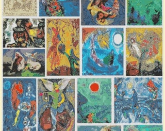 Chagall Cross Stitch Pattern chagal pattern cross artwork collection pattern - 331 x 441 stitches - INSTANT Download - B1240