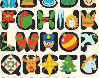 Cross Stitch christmas alphabet abc pattern Point de croix de l'alphabet korss -280 x 319 stitches- Instant Download - B1224