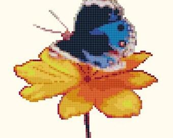 butterfly cross stitch pattern Pdf butterfly pattern butterfly needlepoint - 82 x 112 stitches - INSTANT Download - B1370