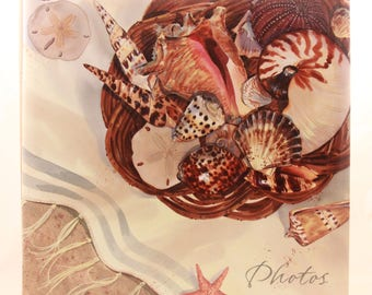 "New/Old Stock! Hallmark 8 Adhesive Page 12"" X 13"" Sea Shell Photo Album. PHA6198"