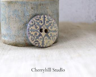 XL Button Medieval Purple, Large Round Ceramic Button, Ceramic Buttons, Sew on Buttons, Ceramic Embellishments, Haberdashery