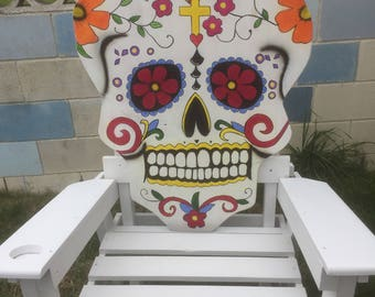 Dia De Los Muertos Chair Sugar Skull Chair,  Adirondack Chair,  Lawn Chair, Deck Chair