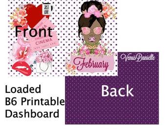 PRINTABLE February Loaded B6 Dashboard, Digital Cover, Printable Cover, B6 TN, Traveler's Notebook, February Cover, Planner Cover