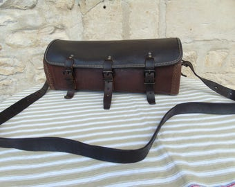 French antique, stunning thick leather, medium size tool bag/work satchel.  1940s.  Extremely well made. Immaculate.