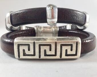 Leather Bracelets, Set of Two leather bracelets, stacking bracelets, stackable bracelets, Joanna Gaines, indie leather, leather, bracelets