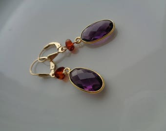 Gold earrings, 585 gold filled, with amethyst and amber