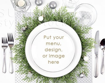 Christmas Table / Mock up / Table Mockup / Plate / Table Setting / Place setting / Styled Stock Photography / Menu / Dishes / StockStyle-900