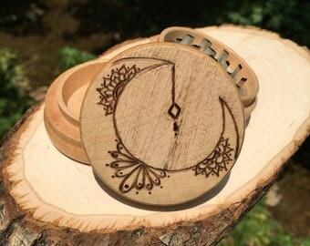Free shipping made to order mandala moon herb grinder, weed moon grinder