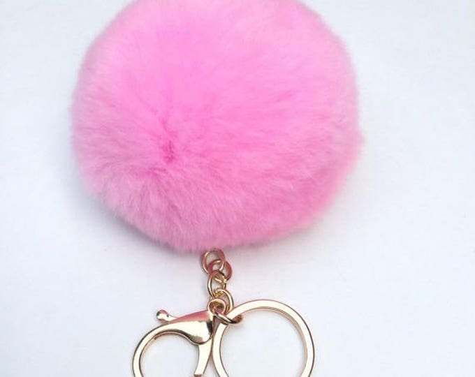 New! Pink Fur pom pom keychain fur puff ball bag pendant charm