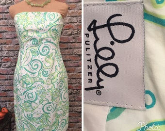 Vintage Lilly Pulitzer Fish    Strapless Dress    Size 12