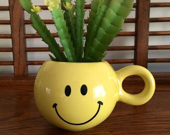 Yellow Smiley Face Planter/Flower Pot/Mug