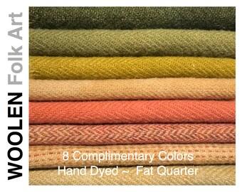 Bundle No.10;Hand Dyed Wool;Applique;Rug Hooking;Penny Rug;Felted Wool;Fat Quarter; 8 Color Bundle of Wool