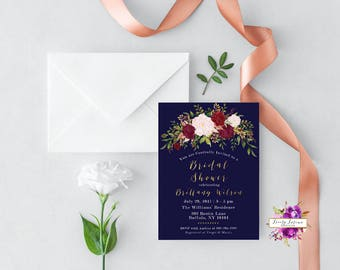 Navy Blue and Burgundy - Watercolor Floral Bridal Shower - Bridal Shower Invitation - Printable Invitation - Digital Invitation