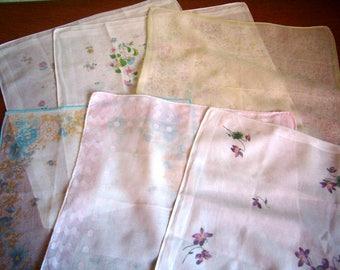 Vintage french set of handkerchiefs for women or children, set of 6.