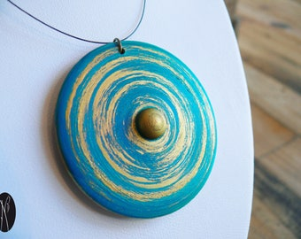 Wood turned, blue and gold necklace