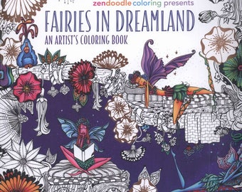 Fairies in Dreamland: An Artist's Coloring Book -  Printable Coloring eBook - Instant download - PDF format - eBook