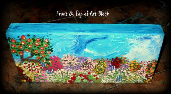 "Acrylic Painting on Wooden Block, ""A Peaceful Place"" 11.5 x 5.5 x 1.5"" by Folk Artist Stacey Torres"