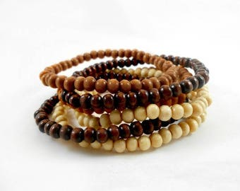 Mix & Match Wood Bead Bracelets, 4mm Beads, Your Choice in Dark, Medium or Light Wooden Bead Bracelet, Mens or Womens Wood Bracelet