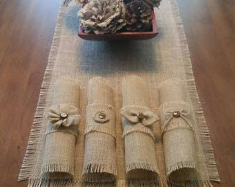 Burlap Shabby Chic Napkin Rings in Natural w/Button, Bow, Bow-tie or Flower Accent (Quantity of 4 or 6)