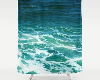 turquoise ocean surf shower curtain bathroom decor sea wave deep surf water tropical photo beach house