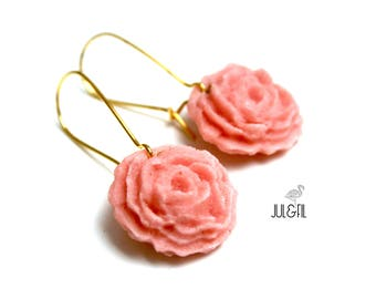 English rose Stud Earrings, powder pink