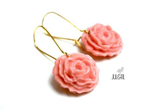 English rose Stud Earrings, powder pink