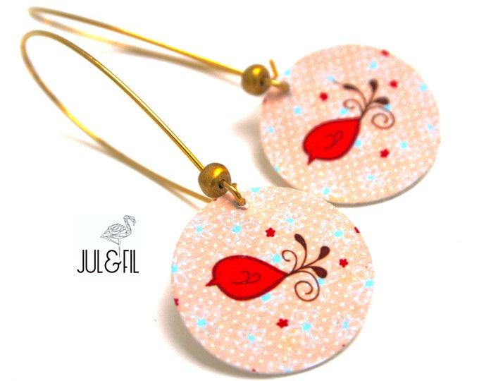 Graphics © coral birds juletfil wood stud earrings