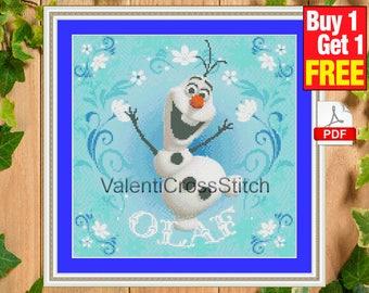 DISNEY Cross stitch pattern, Olaf cross stitch, Frozen, Instant Download, Counted cross stitch, cross stitch patterns, #sp 45