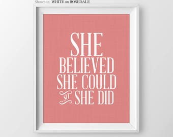 Coral Baby Girl Nursery She Believed She Could So She Did Nursery Wall Art Girl Nursery Quotes Girl Nursery Decor Baby Shower Gift