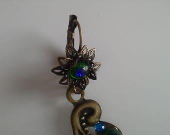 long earrings (fashion) glasses of peacocks