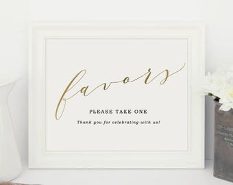 Wedding Favor Sign, Please Take a Treat, Guests Favors Sign, Wedding Signs, Favors Printable | Editable in Word or Pages