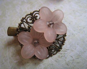 Retro pin romantic pastel pink flowers