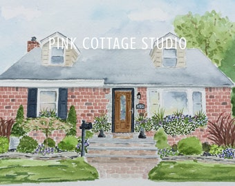 Painting of home, Custom home portrait, Wedding gift for parents, 25th anniversary gift, Wedding registry, First home gift,Paper anniversary