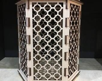 Moroccan Trellis Barbed Quatrefoil - Hexagon Candle holder