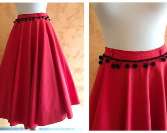 Vintage 1950s Style Red Cotton Pom Pom Full Circle Skirt - size M/L