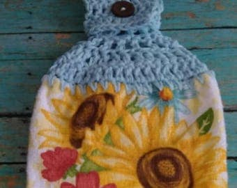 Live Simply Mason Jar with Sunflowers with Light Blue Crochet Top Hanging Dish Kitchen Hand Towel