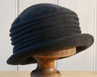 Black fleece homegrown cloche hat