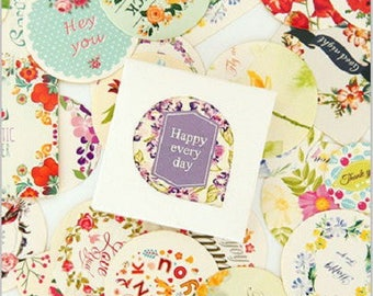set of 38 round sticker gift tag labels