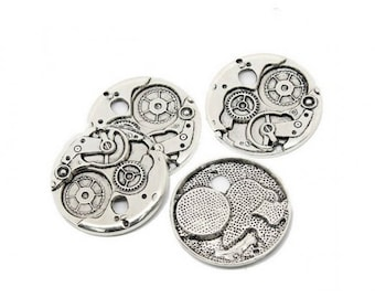 5 gears Steampunk 38mm matte silver charms