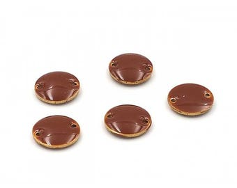 10 enameled connectors 12mm Brown round