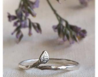 Sterling silver leaf ring, silver twig ring, silver leaf ring, sterling silver stacking ring, botanical ring, dainty ring, silver stack ring