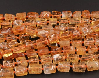 """A Grade Gemmy Natural Golden Citrine Nuggets 10mm Square Nugget Beads 16"""" Strand"""
