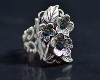 Forget Me Not Flower Ring, Romantic Ring, Wild Flower Jewelry, Flower Jewelry, Antique Flower Ring, Silver Ring, Bronze Ring R540